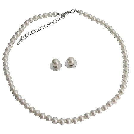 White Pearl Necklace Stud Earrings Set Sophisticate To Any Outfit