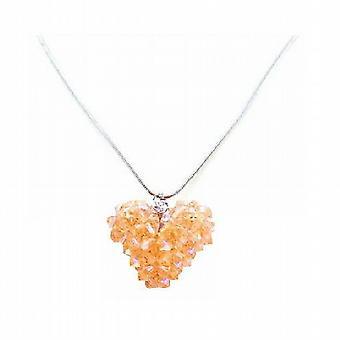 Persika Swarovski kristaller 3D Puffy Heart handgjort hänge halsband ef18ec8d4832b