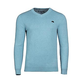 V-Neck Cotton/Cashmere Knit - Sea Blue