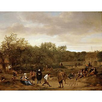 Landscape with skittle playes,Jan Steen,50x40cm