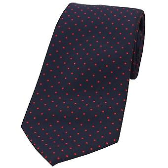 David Van Hagen Pin Dot Polyester Tie - Blue/Red