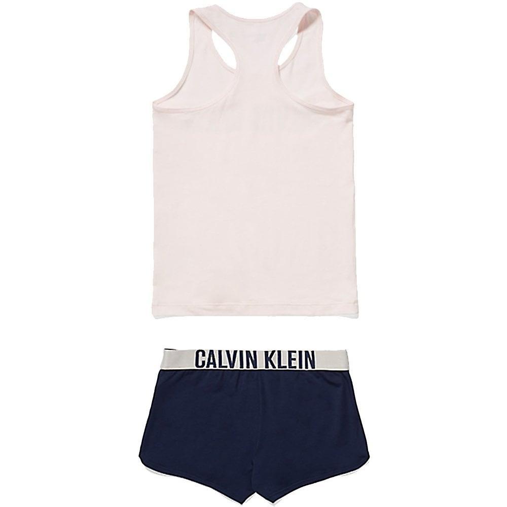 Calvin Klein Girls Intense Power PJ Set, Shrinking Violet  / Blue Shadow, XX-Large