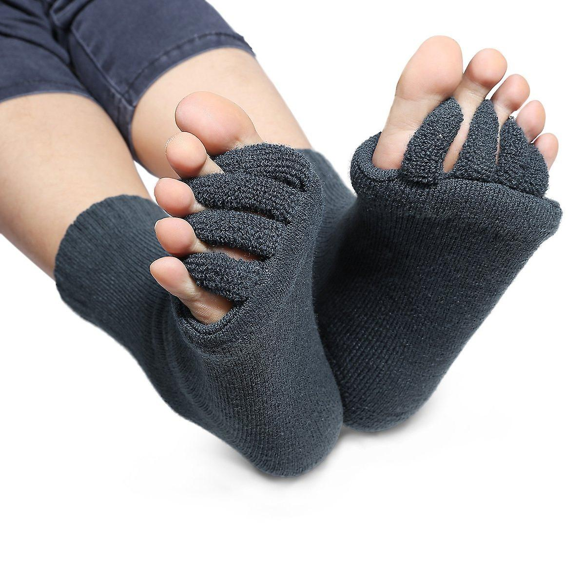 Toe Spreads Socks Pedicure Foot Massage Wellness Socks - Size: 34-43 Colour Grey