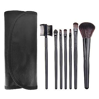 7 PCs Black Professional Make-up/Makeup brushes in leather case