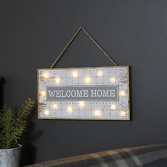 Warm White LED Wooden Light up Welcome Home Plaque