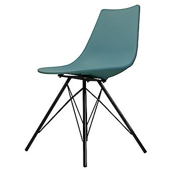 Fusion Living Iconic Teal Plastic Dining Chair With Black Metal Legs