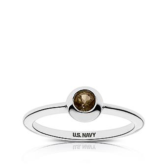 Us Navy - Us Navy Engraved Light Smokey Quartz Ring