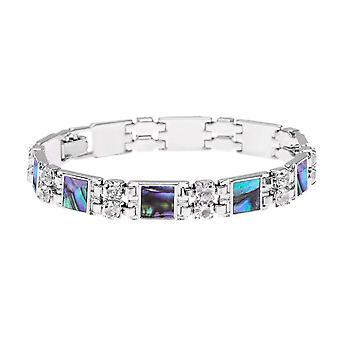 Eternal Collection Vision Diamante Paua Shell Link Silver Tone Tennis Bracelet