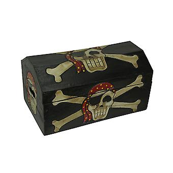 Wooden Pirate Treasure Chest- Skull with Bandana