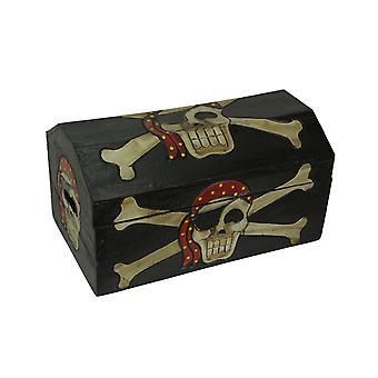 Træ Pirate Treasure Chest - kraniet med Bandana