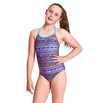 Zoggs Girls Aztec Plume Duoback Eco Fabric One Piece Swimsuit - Multi