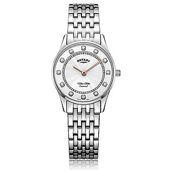 Rotary   Women's Ultra Slim Stainless Steel   Mother Of Pearl Dial LB08300/01/D Watch