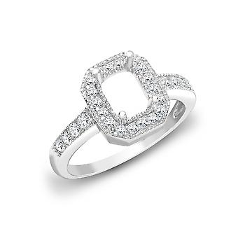 Jewelco London solid 18ct White Gold pave sett runde G SI1 0.43 CT Diamond semi sett Mount Forlovelses ring 14mm