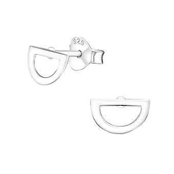 Semi Circle - 925 Sterling Silver Plain Ear Studs - W35697X