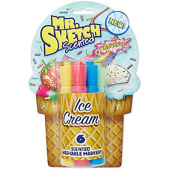 Mr.Sketch Scented Washable Marker Set 6/Pkg-Chisel Ice Cream 1924258