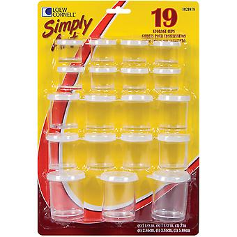 Simply Art Storage Cups Assorted Sizes 19 Pkg Clear S1021078