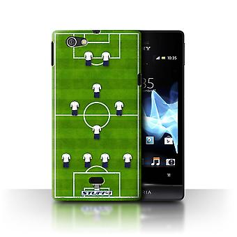 STUFF4 Case/Cover for Sony Xperia Miro/ST23I/4-1-2-1-2/White/Football Formation