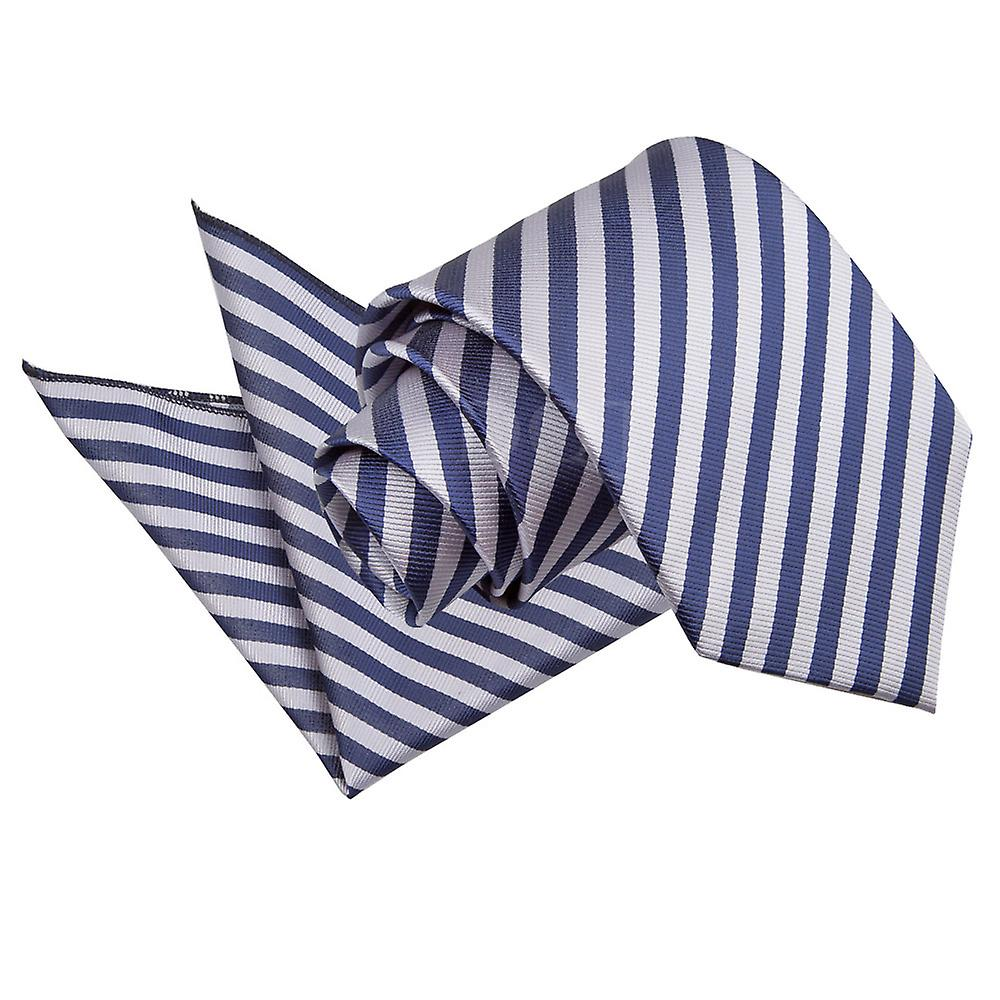 Navy Blue & Silver Thin Stripe Tie and Pocket Square Set