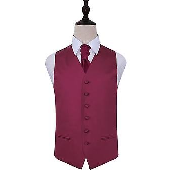 Plain Burgundy Satin Wedding Waistcoat & Cravat Set