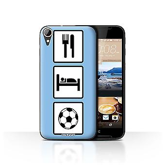 STUFF4 Case/Cover for HTC Desire 830/Football/Soccer/Blue/Eat/Sleep