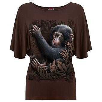 Spiral Direct Gothic MONKEY BUSINESS - Boat Neck Bat Sleeve Top Chocolate|Fashion|Cute|Tribal