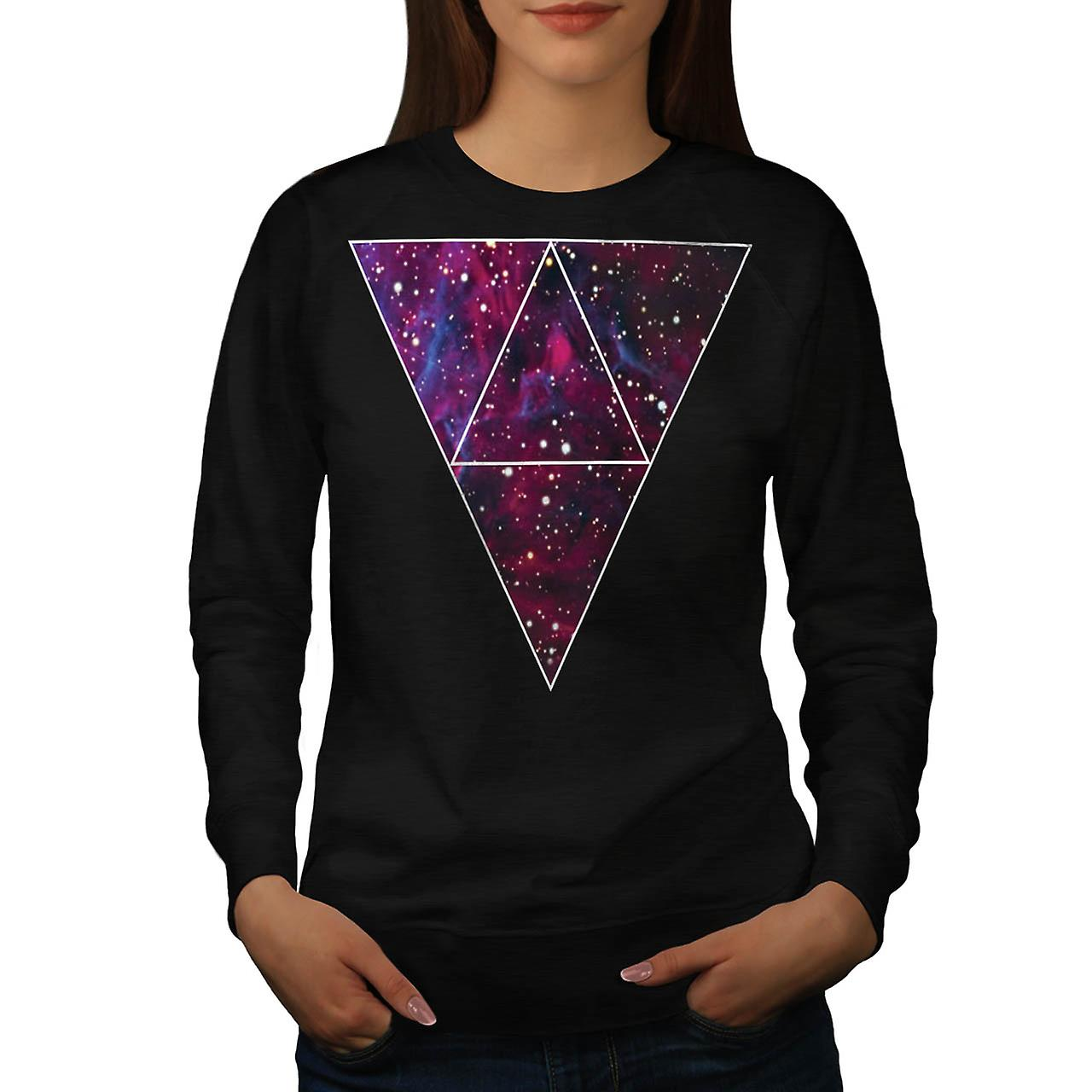 Universe Of Triangles Space Life Women Black Sweatshirt | Wellcoda