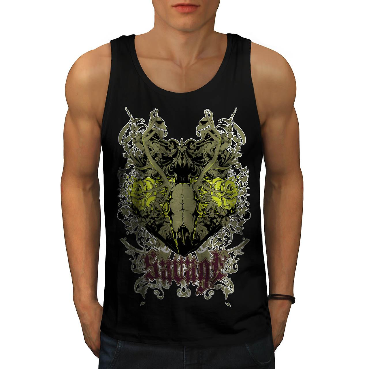 Savage Animal Skull Goat Head Men Black Tank Top | Wellcoda