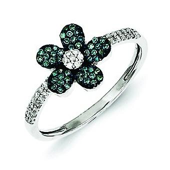 Sterling zilver blauw en wit Diamond Flower Ring - Ringmaat: 6 tot en met 8