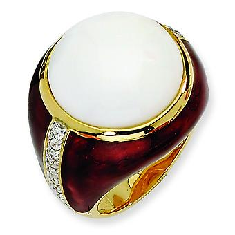 Gold-plated Sterling Silver Brn Enam Simulated Wht Agate and Cubic Zirconia Ring - Ring Size: 6 to 8