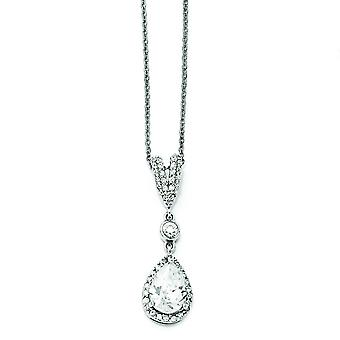 Sterling Silver Pear CZ Necklace - 18 Inch