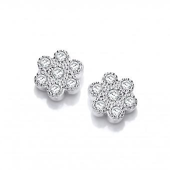 Cavendish French Silver and Cubic Zirconia Petal Earrings