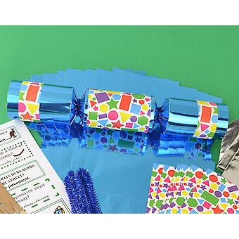 8 Blue Foil Geometrics Make & Fill Your Own Childrens Party Crackers Kit