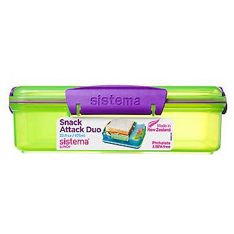 Sistema 975ml Multi Compartment Snack Attack Duo Lunch Box, Lime Green