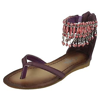Girls Cutie Flat Toepost Sandal / Beaded Ankle Strap