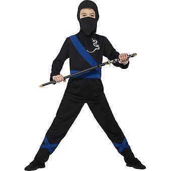 Ninja Karatekämpfer schwarz blau Kinderkostüm