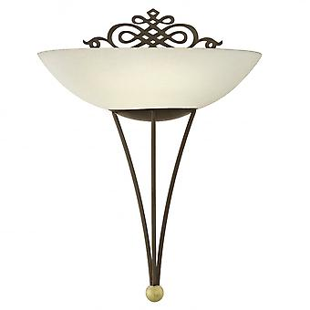 Eglo Mestre 1 Light Traditional Wall Light Antique Brown And Gol