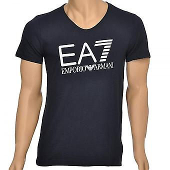 EA7 Emporio Armani Sea World Core Logo V-Neck T-Shirt, Blue, Small