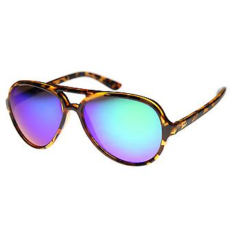 Classic Teardrop Flash Mirror Color Lens Plastic Aviator Sunglasses 55mm
