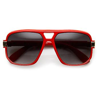 Classic Square Frame Plastic Flat Top Aviator Sunglasses