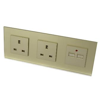 I LumoS Luxury Gold Glass Double 13A UK + 2.1A USB Wall Plug Triple Socket