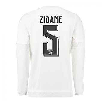 2015-16 Real Madrid Long Sleeve Home Shirt (Zidane 5) - Kids
