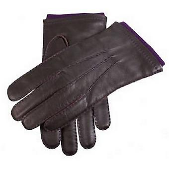 Dents Contrast Stitching Leather Gloves - Brown