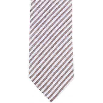 Knightsbridge Neckwear Diagonal Striped Cotton Skinny Tie - Brown/White