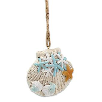 Shells and Starfish Blue and White Christmas Holiday Ornament Resin