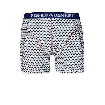 Fisher & Bennet Fisher And Bennet Mens Cotton Stretch Aqua Blue Zig Zag Print Boxer Shorts