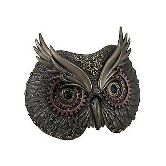 Metallic brons Steampunk Owl hoofd muur masker