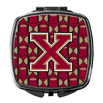 Buchstabe X Fußball Granat und Gold Taschenspiegel