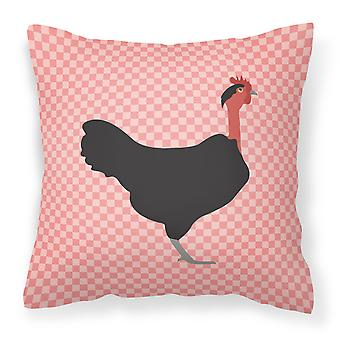 Naked Neck Chicken Pink Check Fabric Decorative Pillow