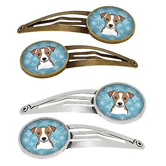 Snowflake Jack Russell Terrier Set of 4 Barrettes Hair Clips