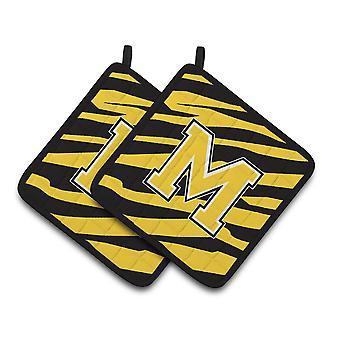 Monogramma iniziale M Tiger Stripe - oro nero coppia di presine